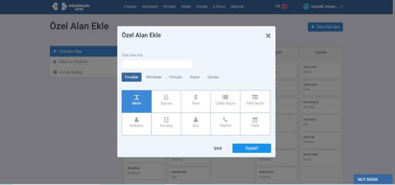CRM setup to add custom fields.