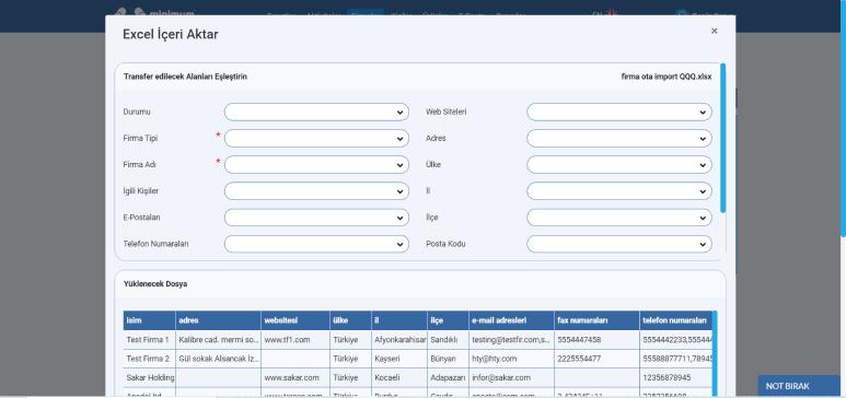 CRM sisteminde toplu veri yönetimi