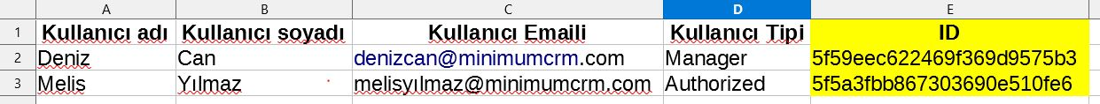 CRM sisteminde kullanıcı excel çıktısı.